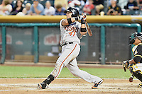 Guillermo Quiroz (41) of the Fresno Grizzlies at bat against the Salt Lake Bees at Smith's Ballpark on May 25, 2014 in Salt Lake City, Utah.  (Stephen Smith/Four Seam Images)