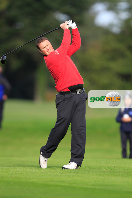 Michael McGeady (Derry) on the 13th tee during Round 4 of The Cassidy Golf 103rd Irish PGA Championship in Roganstown Golf Club on Sunday 13th October 2013.<br /> Picture:  Thos Caffrey / www.golffile.ie