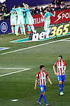 FC Barcelona's players celebrate goal in presence of Atletico de Madrid's Diego Godin (r) and Stefan Savic dejected during La Liga match. February 26,2017. (ALTERPHOTOS/Acero)