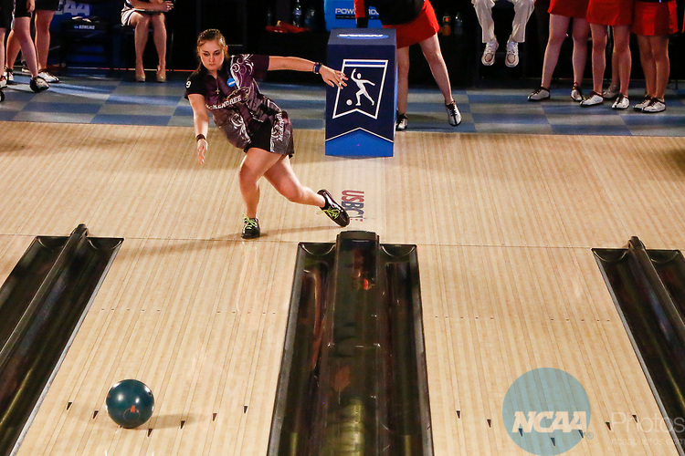 BATON ROUGE, LA - APRIL 15: Jessica Mellott #9 of the McKendree Bearcats bowls during the Division I Women's Bowling Championship held at the Baton Rouge River Center on April 15, 2017 in Baton Rouge, Louisiana. (Photo by Tim Nwachukwu/NCAA Photos via Getty Images)