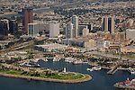 Aerial view of Rainbow Harbor and the Downtown skyline, Long Beach, CA