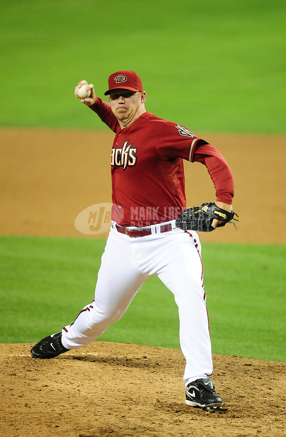 May 9, 2012; Phoenix, AZ, USA; Arizona Diamondbacks pitcher J.J. Putz throws in the ninth inning against the St. Louis Cardinals at Chase Field. The Cardinals defeated the Diamondbacks 7-2. Mandatory Credit: Mark J. Rebilas-