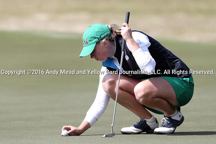 16 April 2016: Notre Dame's Talia Campbell. The Second Round of the Atlantic Coast Conference's Womens Golf Tournament was held at Sedgefield Country Club in Greensboro, North Carolina.