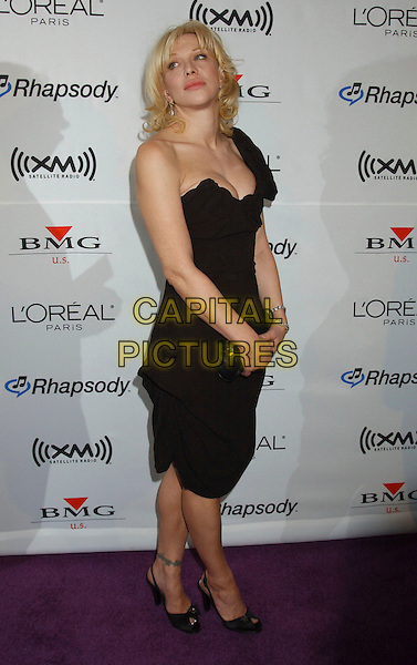 COURTNEY LOVE.2006 Clive Davis Pre-GRAMMY Party sponsored by L'Oreal, Rhapsody, and XM Satellite Radio held at the Beverly Hilton Hotel, Beverly Hills, California, USA..February 6th, 2006.Photo: Laura Farr/AdMedia/Capital Pictures.Ref: LF/ADM.full length black dress one shoulder.www.capitalpictures.com.sales@capitalpictures.com.© Capital Pictures.