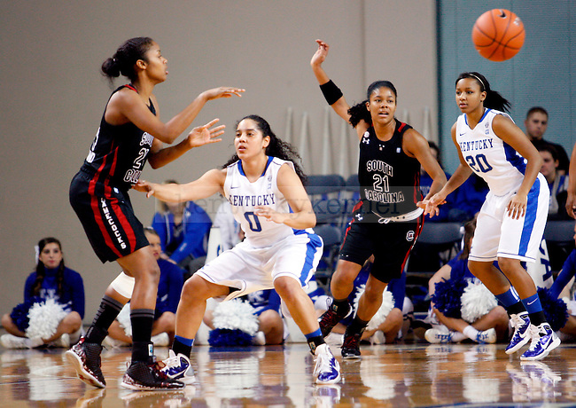 Jennifer O'Neill and Meagan Conwright play defense in the first half of the UK women's basketball team's game against the South Carolina Gamecocks at Memorial Colisiuem  on Jan. 13, 2011. Photo by Britney McIntosh | Staff