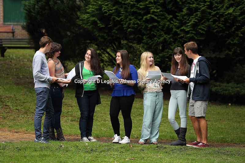 Pictured L-R: Students Jake Lomas, Katie Watkins, Holly Dickens, Kia Warlow, Celia Crees, Freya Koutsoubelis and Ben Francis.<br /> Re: Ffynone School A Level results, Swansea, south Wales.