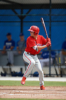 Philadelphia Phillies Nick Maton (6) at bat during an Instructional League game against the Toronto Blue Jays on October 7, 2017 at the Englebert Complex in Dunedin, Florida.  (Mike Janes/Four Seam Images)