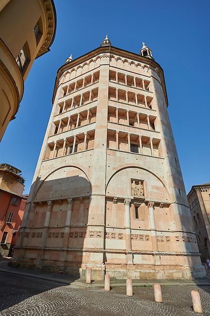 Exterior of the octagonal  Romanesque Baptistery of Parma, circa 1196, (Battistero di Parma), Italy