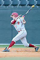 Shortstop Johnny Adams (25) of the Boston College Eagles bats in a game against the Wofford College Terriers on Friday, February 13, 2015, at Russell C. King Field in Spartanburg, South Carolina. Wofford won, 8-4. (Tom Priddy/Four Seam Images)