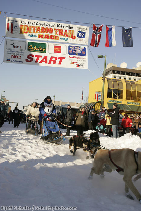 March 3, 2007   Jason Barron during the Iditarod ceremonial start day in Anchorage