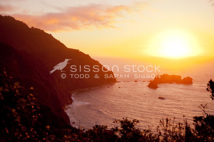 Sunset on the South Westland coast, South Island, New Zealand