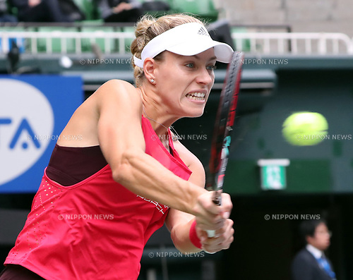 September 23, 2017, Tokyo, Japan - Angelique Kerber of Germany returns the ball against Russia's Anastasia Pavlyuchenkova during the semi final of the Toray Pan Pacific Open tennis championships in Tokyo on Saturday, September 23, 2017. Pavlyuchenkova defeated Kerber 6-0, 6-7 (7-4), 6-4.    (Photo by Yoshio Tsunoda/AFLO) LWX -ytd-