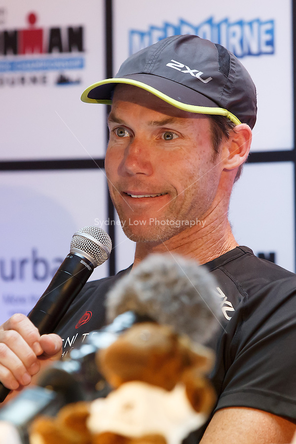 MELBOURNE, 22 MARCH - Cameron BROWN (NZL) speaks at the Official Press Conference before the URBAN Hotel Group IRONMAN Asia-Pacific Championship to be held in Melbourne, Australia on Sunday March 24, 2013. (Photo Sydney Low / sydlow.com)