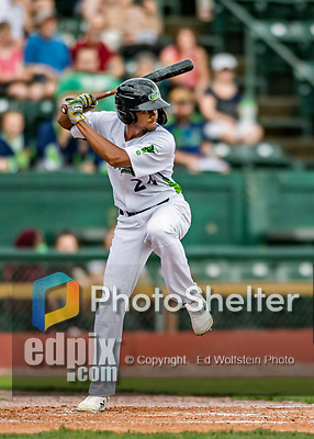 21 July 2019: Vermont Lake Monsters outfielder Kevin Richards in action against the Tri-City ValleyCats at Centennial Field in Burlington, Vermont. The Lake Monsters rallied to defeat the ValleyCats 6-3 in NY Penn League play. Mandatory Credit: Ed Wolfstein Photo *** RAW (NEF) Image File Available ***