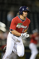 Fort Myers Miracle outfielder Jason Kanzler (8) runs to first during a game against the Tampa Yankees on April 15, 2015 at Hammond Stadium in Fort Myers, Florida.  Tampa defeated Fort Myers 3-1 in eleven innings.  (Mike Janes/Four Seam Images)