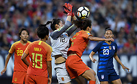 Cleveland, Ohio - Tuesday June 12, 2018: Peng Shimeng during an international friendly match between the women's national teams of the United States (USA) and China PR (CHN) at FirstEnergy Stadium.