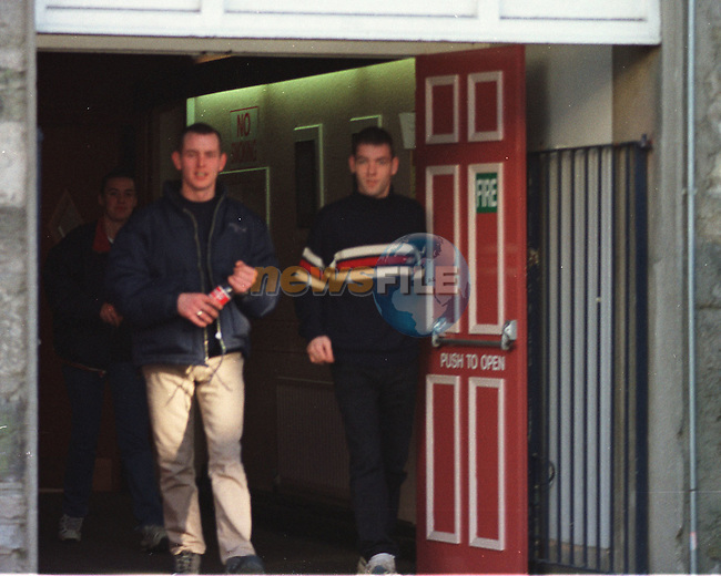 David Allen (Left) Walking out of Navan Court on Wednesday after the Judge would not take juristiction, and was released on continuing bail after being arrested with £40,000 of canibas for possion with intent to sell..Pic BYline: Fran Caffrey Newsfile
