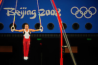 Aug. 9, 2008; Beijing, CHINA; Jonathan Horton (USA) performs on the rings during mens gymnastics qualification during the Olympics at the National Indoor Stadium. Mandatory Credit: Mark J. Rebilas-