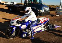 Oct. 16, 2011; Chandler, AZ, USA; NHRA pro stock motorcycle rider Hector Arana Jr after winning the Arizona Nationals at Firebird International Raceway. Mandatory Credit: Mark J. Rebilas-