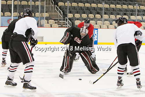 - The Frozen Four competitors practice at Pittsburgh's Consol Energy Center on Wednesday, April 10, 2013, in preparation for their semi-final games on Thursday.