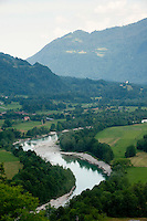 View over the Soca River from The Charnel House on Gradič hill, Kobarid, Slovenia
