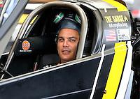 Aug 19, 2016; Brainerd, MN, USA; NHRA top fuel driver Tony Schumacher during qualifying for the Lucas Oil Nationals at Brainerd International Raceway. Mandatory Credit: Mark J. Rebilas-USA TODAY Sports