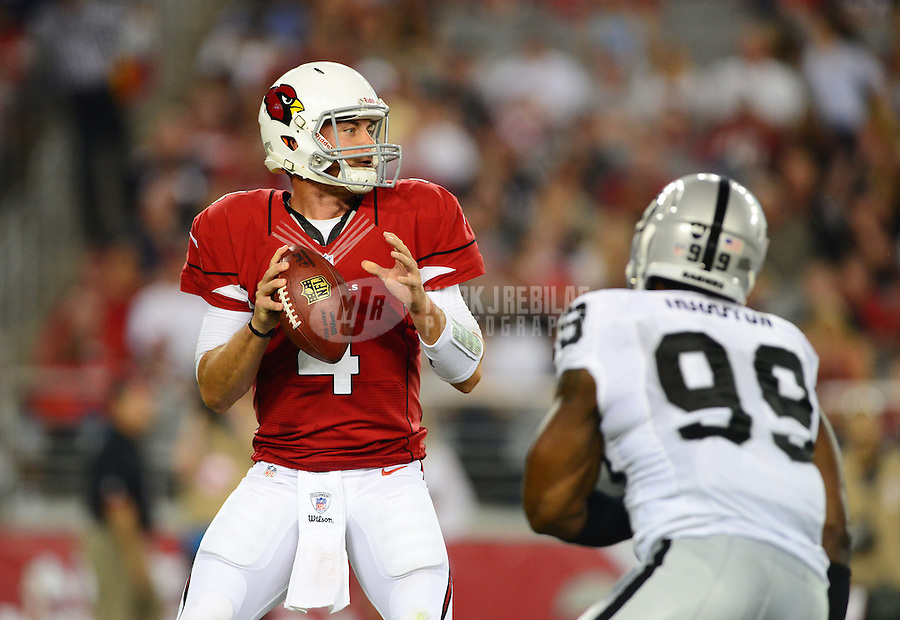 Aug. 17, 2012; Glendale, AZ, USA; Arizona Cardinals quarterback (4) Kevin Kolb drops back to pass in the second quarter against the Oakland Raiders during a preseason game at University of Phoenix Stadium. Mandatory Credit: Mark J. Rebilas-.