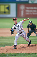 Austin Manning (9) of the Idaho Falls Chukars delivers a pitch to the plate against the Orem Owlz at Melaleuca Field on July 14, 2019 in Idaho Falls, Idaho. The Owlz defeated the Chukars 6-2. (Stephen Smith/Four Seam Images)