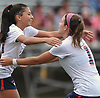 Mia Delmond #10 of South Side, left, gets congratulated by teammate Riley Ford #1 after her goal gave the Cyclones a 1-0 lead over host North Shore High School in a Nassau County AB1 varsity girls soccer game on Friday, Sept. 14, 2018. South Side went on to win 2-0.
