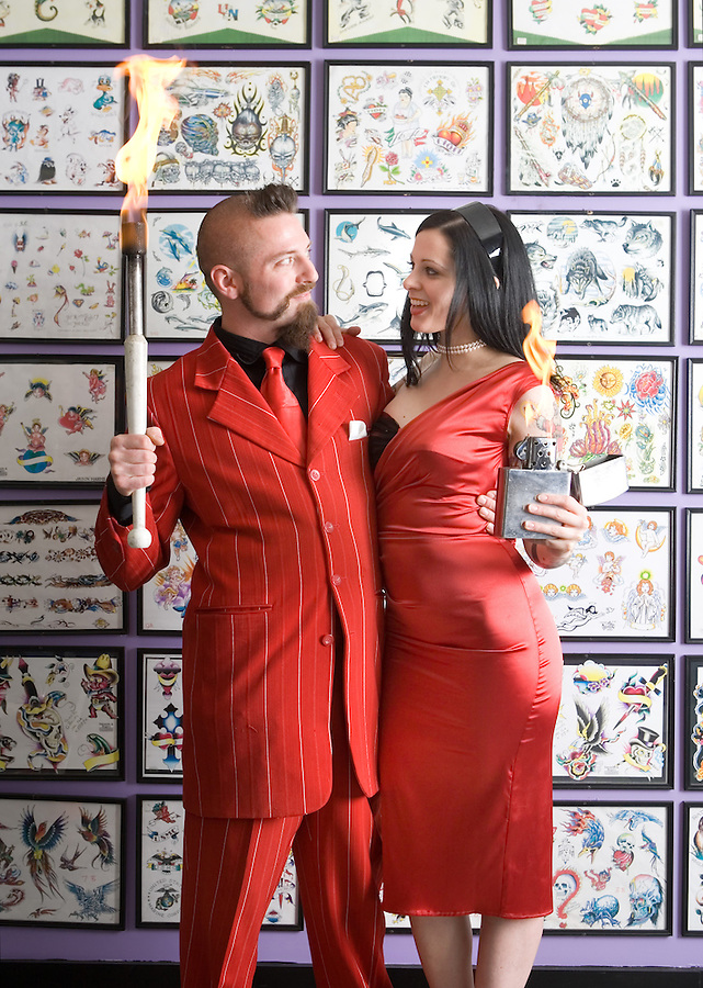 Slug:  WK/Valentine.Date: 1-29-2007.Photographer: Mark Finkenstaedt FTWP.Location:  Jinx Tattoo parlor in Georgetown. Washington, DC.Caption: Tyler Fyre and his wife Thrill Kill Jill are carnival thrill show entertainers and run the Lucky Devil Thrill Show in Washington DC and as a traveling show...© 2006 Mark Finkenstaedt. All Rights Reserved. LATimes WP News Service OUT unless under special arrangement with the photographer. Print only. No Transfers or thrid party sales. No loans to associates or partners for their use. No advertising or use by third party..Contact the photographer for use and permissions...www.mfpix.com 202-258-2613