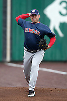 Pawtucket Red Sox pitcher Brandon Duckworth #38 during practice before a game against the Buffalo Bisons at Coca-Cola Field on April 15, 2012 in Buffalo, New York.  Buffalo defeated Pawtucket 10-9 in ten innings.  (Mike Janes/Four Seam Images)