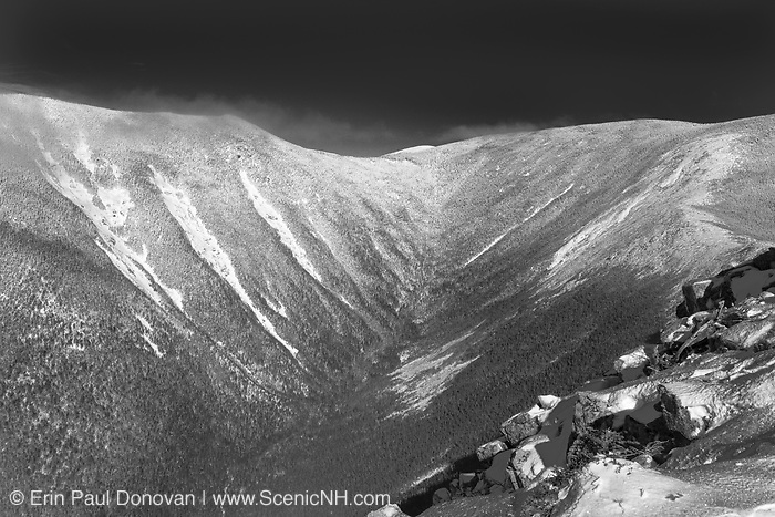 Pemigewasset Wilderness - Hellgate Ravine from the summit of Bondcliff during the winter months in the White Mountains, New Hampshire USA.