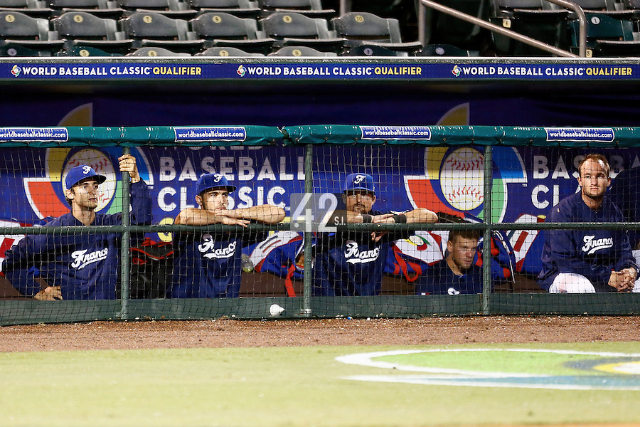 21 September 2012: Eloi Secleppe, Andy Pitcher, Florian Peyrichou, Owen Ozanich and Joris Bert are seen in the dugout during France vs South Africa tie game 2-2, rain delayed at the end of the 9th inning at 1 AM, during the 2012 World Baseball Classic Qualifier round, in Jupiter, Florida, USA. Game to resume 22 September 2012 at noon.