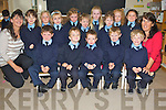 Pictured during their first day at Coolick National School, Kilcummin on Wednesday morning were Gearóid O'Connor, Bryan O'Leary, Kyle Murphy, Ryan O'Sullivan, Cathal Larkin, Féile O'Sullivan, Neveen O'Sullivan, Rebecca Kearney, Amalie Huggard, Aine MacSweeney, Robyn O'Sullivan, Siobhan Fleming, Laura Ahern and Ellie Doolan with Patricia Dennehy and Fiona O'Donoghue. .................................................