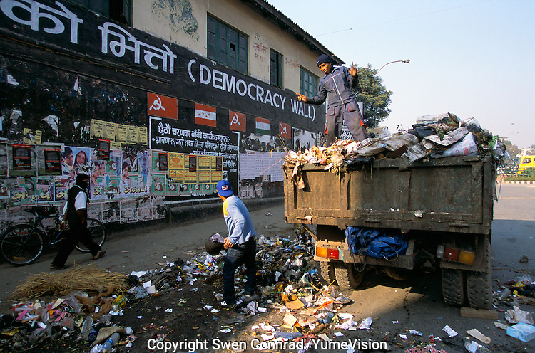 The Democracy Wall, surround by garbage in the heart of the capital Kathmandu Nepal