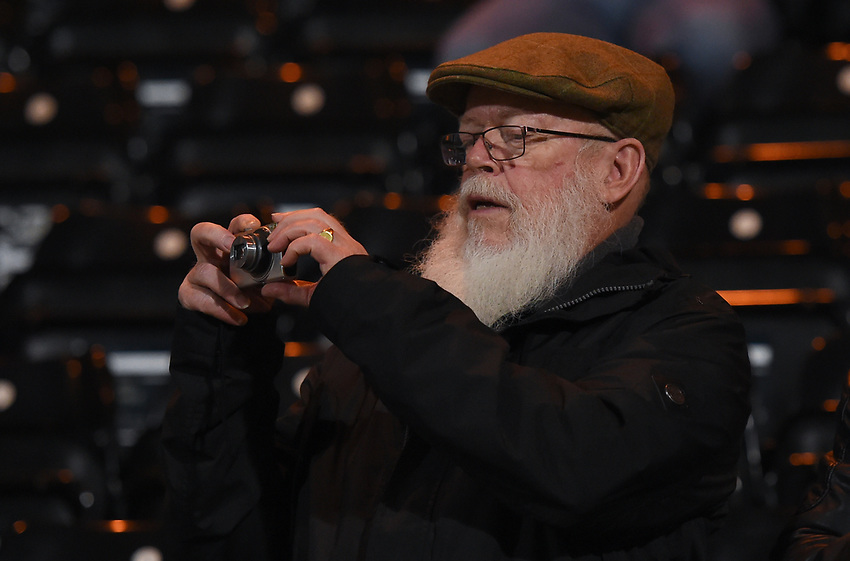 Notts County supporter taking a photo<br /> <br /> Photographer Jon Hobley/CameraSport<br /> <br /> The EFL Sky Bet League Two - Notts County v Crawley Town - Tuesday 23rd January 2018 - Meadow Lane - Nottingham<br /> <br /> World Copyright &copy; 2018 CameraSport. All rights reserved. 43 Linden Ave. Countesthorpe. Leicester. England. LE8 5PG - Tel: +44 (0) 116 277 4147 - admin@camerasport.com - www.camerasport.com