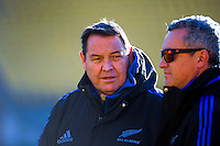 All Blacks coach Steve Hansen with media manager Joe Locke during Steinlager Series All Blacks rugby captain's run at Westpoac Stadium, Wellington, New Zealand on Friday, 17 June 2016. Photo: Dave Lintott / lintottphoto.co.nz