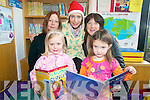 STORYTIME: Enjoying the Christmas Pyjama Party and Storytelling at Killorglin Library on Saturday morning were, front l-r: Sophie O'Connor and Jade Costello. Back l-r: Aino O'Connor, Eibhlin Hayes (Librarian), Siobha?n Costello.   Copyright Kerry's Eye 2008