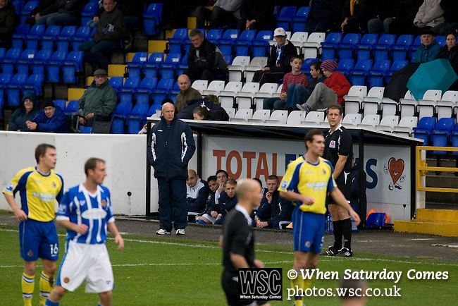 Chester City 1 Altrincham 3, 21/11/2009. Deva Stadium, Football Conference. Manager Jimmy Harvey watching the first-half action at the Deva Stadium, Chester, home of Chester City Football Club (in blue), during the club's Blue Square Premier fixture against Cheshire rivals Altrincham. The visitors won by three goals to one. Chester were in administration at the start of the season and were penalised 25 points before the season began. Photo by Colin McPherson.