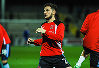 Fleetwood Town's defender Lewie Coyle (2) stretching in the warm up before the Sky Bet League 1 match between Scunthorpe United and Fleetwood Town at Glanford Park, Scunthorpe, England on 17 October 2017. Photo by Stephen Buckley/PRiME Media Images