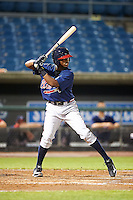 Terry McClure #24 of Riverwood International High School in Atlanta, Georgia playing for the Atlanta Braves scout team during the East Coast Pro Showcase at Alliance Bank Stadium on August 1, 2012 in Syracuse, New York.  (Mike Janes/Four Seam Images)