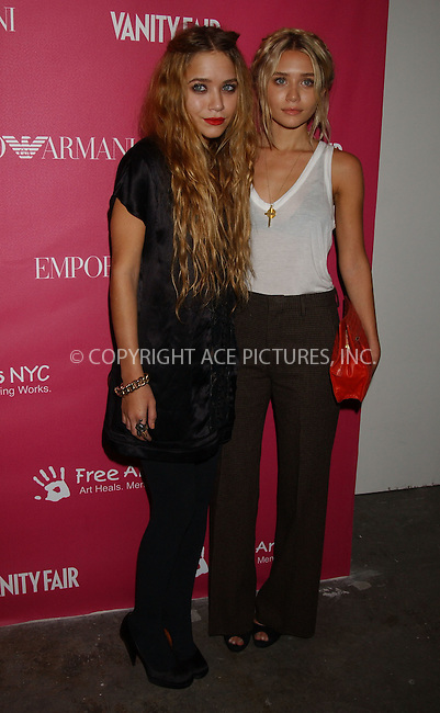 WWW.ACEPIXS.COM . . . . . ....May 23 2006, New York City....Twin sisters Mary-Kate Olsen and Ashley Olsen arriving at the 7th annual Free Arts NYC Art + Photography benefit auction at Phillips de Pury. ....Please byline: KRISTIN CALLAHAN - ACEPIXS.COM.. . . . . . ..Ace Pictures, Inc:  ..(212) 243-8787 or (646) 679 0430..e-mail: picturedesk@acepixs.com..web: http://www.acepixs.com