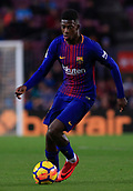 7th January 2018, Camp Nou, Barcelona, Spain; La Liga football, Barcelona versus Levante; Ousmane Dembélé of FC Barcelona comes forward with the ball