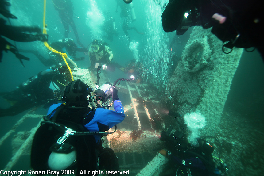 San Diego, CA, USA.  Thursday, July 15, 2010:  Divers hold a press conference at 60ft underwater off Mission Bay on the Wreck of the Yukon on the tenth anniversary of it's sinking.  The wreck was prepared and sunk to form an artificial reef for recreational divers to enjoy.