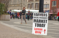 Sign at Truro Farmers' Market, Cornwall.