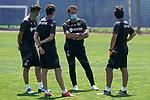 Getafe's coach Jose Bordalas (f) with his assistants Sergio Mora (l), Patricio Moreno (b) and Javier Vidal during training session. May 25,2020.(ALTERPHOTOS/Acero)