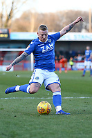 Elliott Durrell of Macclesfield Town with a shot on goal during Crawley Town vs Macclesfield Town, Sky Bet EFL League 2 Football at Broadfield Stadium on 23rd February 2019
