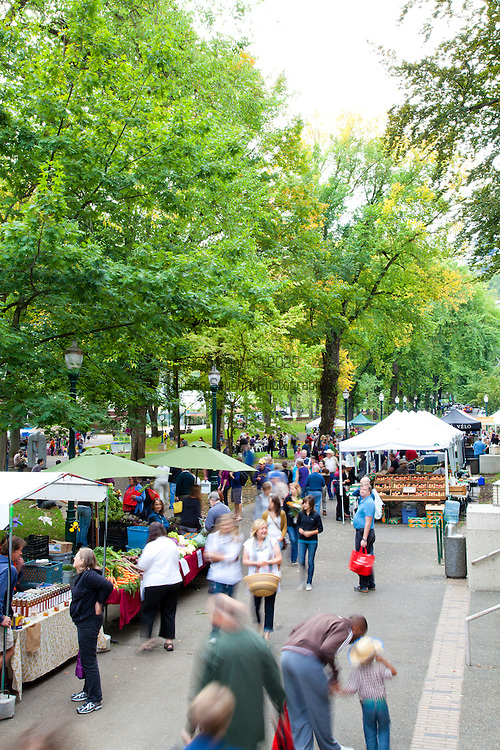 The Portland Farmers' Market in the South Park Blocks on Saturday mornings.