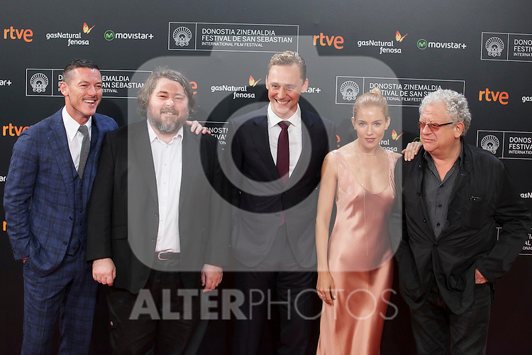 Movie director Ben Wheatley and actors Luke Evans, Sienna Miller and Tom Hiddleston arrive to `High Rise´ film premiere during 63rd Donostia Zinemaldia (San Sebastian International Film Festival) in San Sebastian, Spain. September 22, 2015. (ALTERPHOTOS/Victor Blanco)
