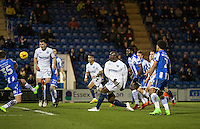 Adebayo Akinfenwa of Wycombe Wanderers hits a shot at goal during the Sky Bet League 2 match between Colchester United and Wycombe Wanderers at the Weston Homes Community Stadium, Colchester, England on 21 February 2017. Photo by Andy Rowland / PRiME Media Images.
